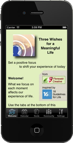 Three Wishes app Welcome